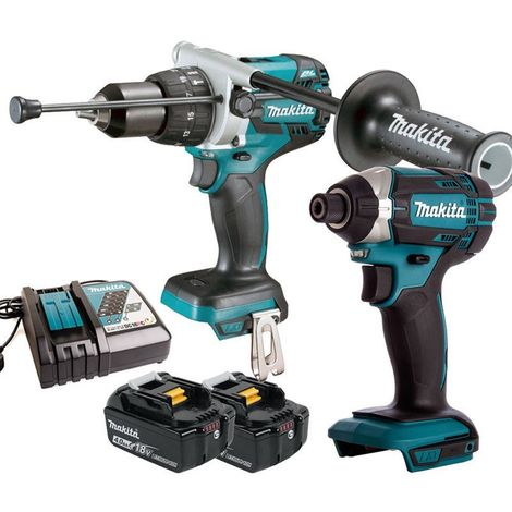 Makita 18V Combi Drill + Impact Driver with 2 x 4.0Ah Batteries & Charger