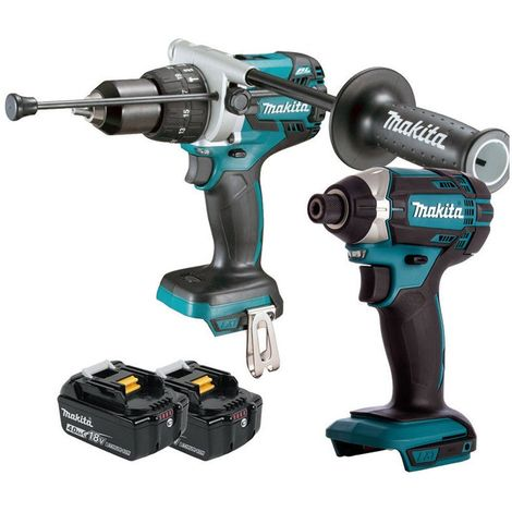 Makita 18V Cordless Combi Drill + Impact Driver With 2 x 4Ah Batteries:18V