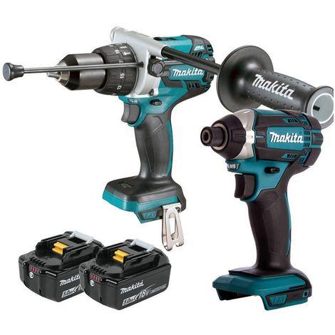 Makita 18V Cordless Combi Drill & Impact Driver With 2 x 5Ah Batteries