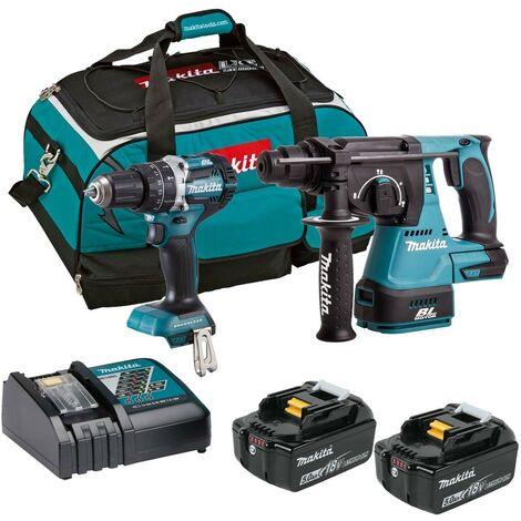Makita 18v DLX2204TX3 Brushless Kit - DHP484 Combi Hammer Drill DHR242 SDS Drill