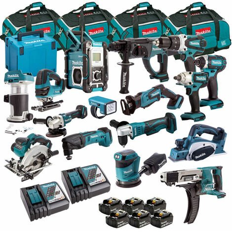 Makita 18V Li-ion Diamond 16 Piece Kit + 6 x 3.0Ah 2 x Charger & 4 x Bag:18V