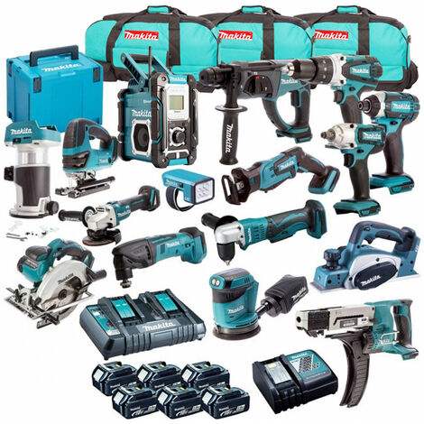 Makita 18V Li-ion Monster 16 Piece Kit + 6 x 3.0Ah 2 x Charger & 3 x Bag:18V