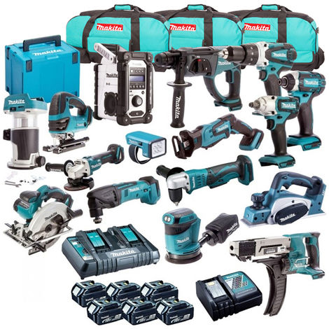 Makita 18V Li-ion Monster 16 Piece Kit + 6 x 4.0Ah 2 x Charger & 3 x Bag:18V