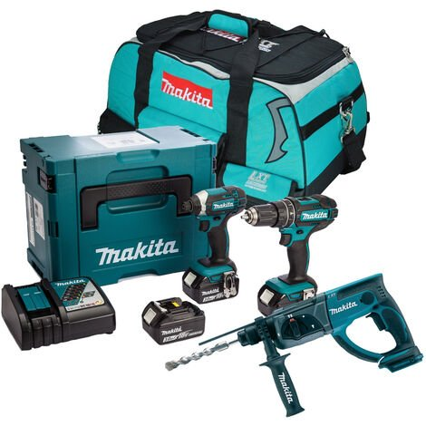 Makita 18v LXT 3 Piece Cordless SDS+ Kit with 3 x 3.0Ah Batteries