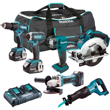 Makita 18V LXT 6 Piece Combo Kit 3 x 5.0Ah Batteries Charger & Bag T4TKIT-223:18V