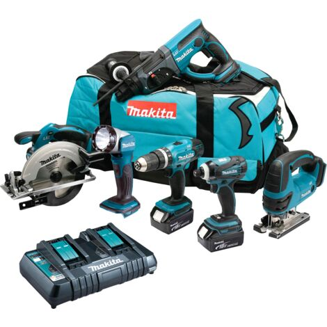 Makita 18V LXT 6 Piece Kit 3 x 5.0Ah Batteries with Twin Port Charger T4T6068PT