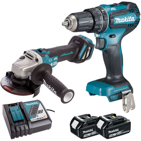 Makita 18V LXT Angle Grinder + Combi Drill with 2 x 4.0Ah Batteries & Charger