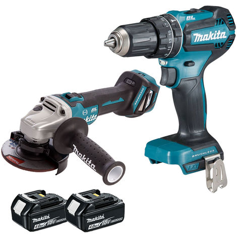 Makita 18V LXT Angle Grinder With Combi Drill with 2 x 4.0Ah Batteries