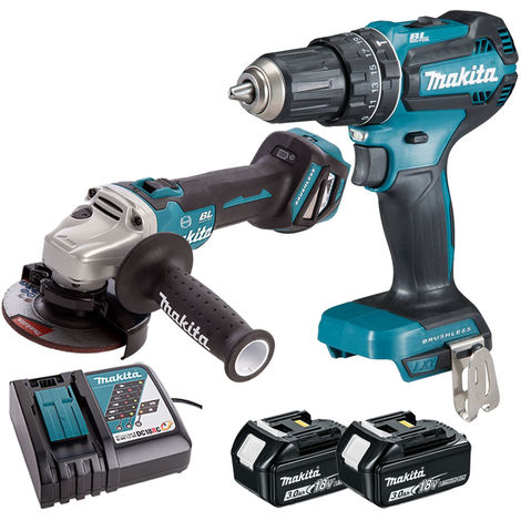 Makita 18V LXT Brushless Angle Grinder & Combi Drill with 2 x 3.0Ah Battery & Charger