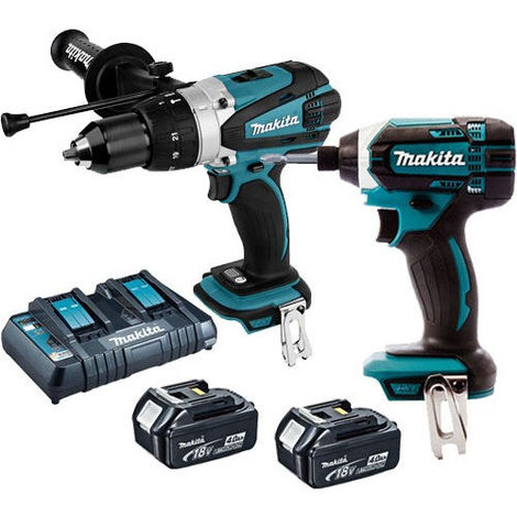 Makita 18V LXT Combi Drill + Impact Driver with 2 x 4.0Ah Battery & Twin Port Charger