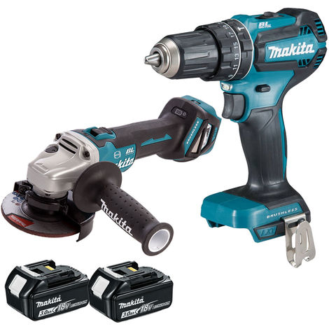 Makita 18V LXT Li-ion Brushless Angle Grinder + Combi Drill with 2 x 3.0Ah Batteries