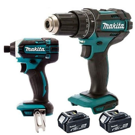 Makita 18v LXT Li-ion Cordless Combi Drill + Impact Driver With 2 x 4.0Ah Batteries:18V