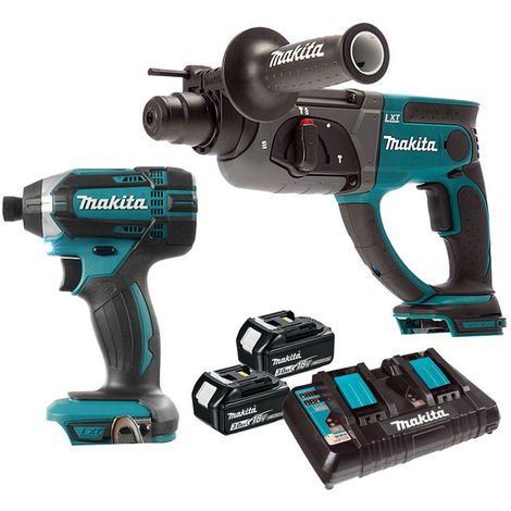Makita 18V Rotary Hammer Drill & Impact Driver with 2 x 3.0Ah Batteries & Dual Port Charger:18V