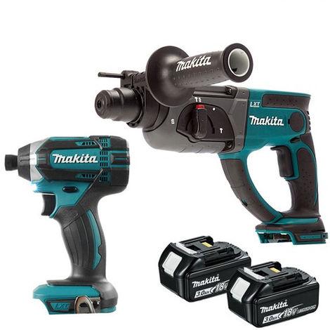 Makita 2 Piece 18V Kit SDS+ Hammer + Impact Driver + 2 x 3Ah Batteries