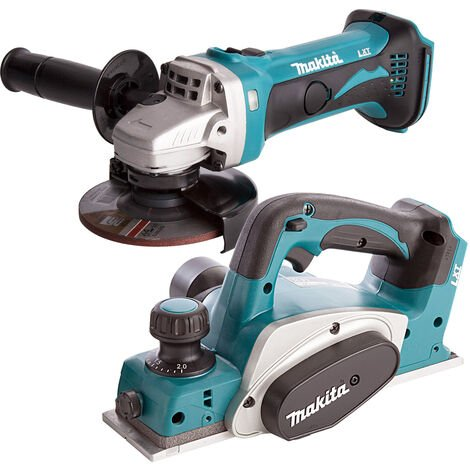 Makita 2 Piece 18V LXT 82mm Planer & 115mm Angle Grinder Body Only