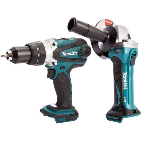 Makita 2 Piece 18V LXT Combi Drill & Angle Grinder 115mm Body Only