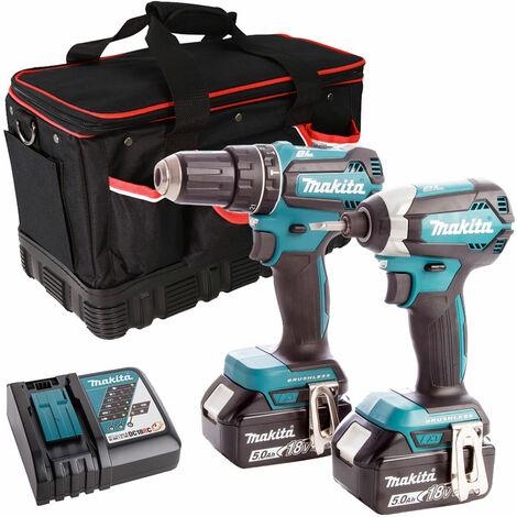 Makita 2 Piece Tool Kit 18V LXT 2 x 5.0Ah Batteries Charger & Bag T4TKIT-7509:18V