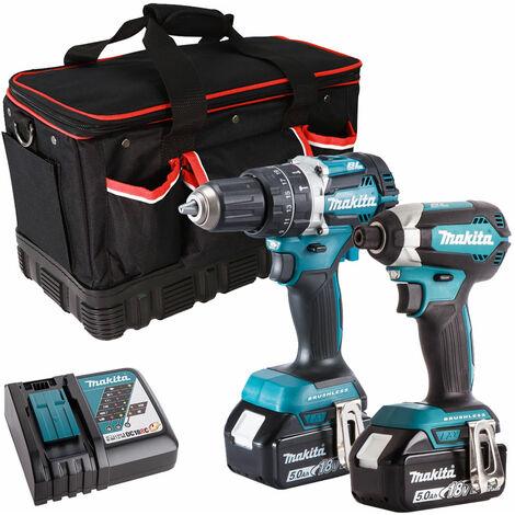 Makita 2 Piece Tool Kit 18V LXT 2 x 5.0Ah Batteries Charger & Bag T4TKIT-7510