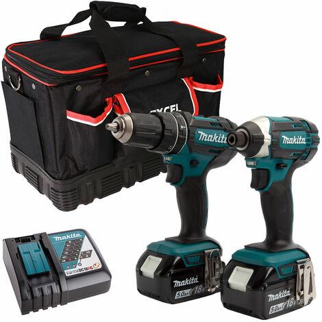 Makita 2 Piece Tool Kit 18V LXT 2 x 5.0Ah Batteries Charger & Bag T4TKIT-7511