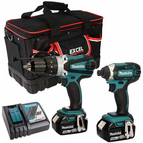 Makita 2 Piece Tool Kit 18V LXT 2 x 5.0Ah Batteries Charger & Bag T4TKIT-7515
