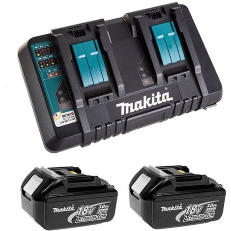 Makita 2 x BL1830 18v 3.0ah Batteries and Dual Port Charger