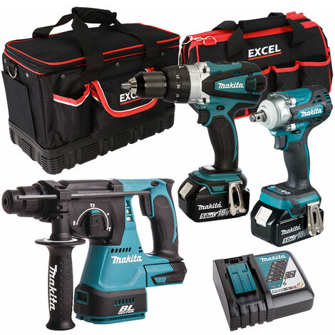 Makita 3 Piece Tool Kit 18V LXT 2 x 5.0Ah Batteries Charger & Bag T4TKIT-6564:18V