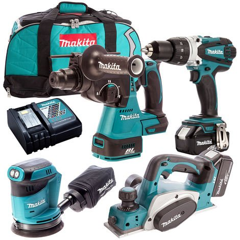 Makita 4 Piece 18V Li-ion with 2 x 5.0Ah Batteries & Charger T4TKIT-158:18V