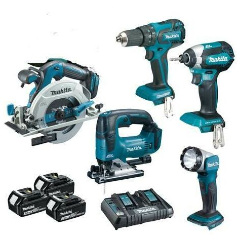 Makita 5 Piece Brushless Tool Kit With 3 x 5 AH Batteries