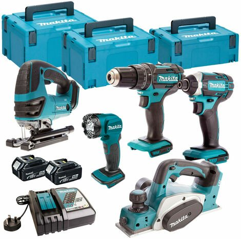 Makita 5 Piece Kit 18V Li-ion With 2x4Ah Batteries Charger T4TKIT-113:18V
