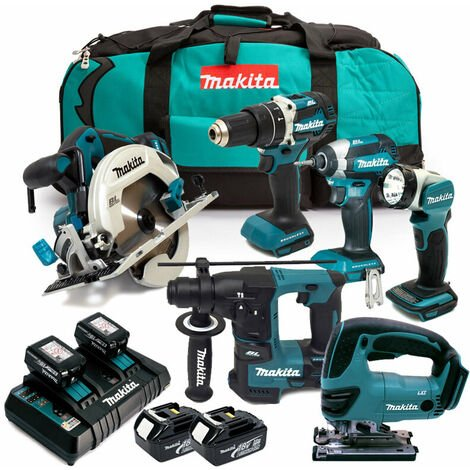 Makita 6 Piece Cordless Kit 4 x 3.0AMP Li-ion Batteries