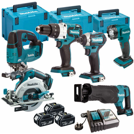 Makita 6 Piece Kit 18V Li-ion With 3 x 4.0Ah Batteries Charger T4TKIT-109:18V
