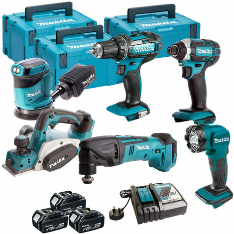 Makita 6 Piece Kit 18V Li-ion With 3x4Ah Batteries Charger T4TKIT-105:18V