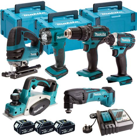 Makita 6 Piece Kit 18V Li-ion With 3x5Ah Batteries Charger T4TKIT-100:18V