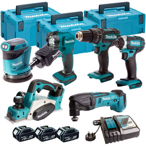 Makita 6 Piece Kit 18V Li-ion With 3x5Ah Batteries Charger T4TKIT-104:18V