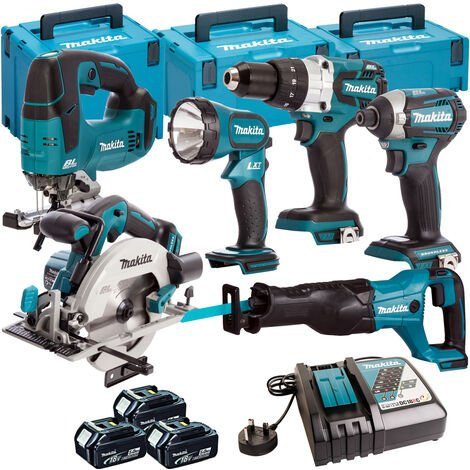 Makita 6 Piece Kit 18V Li-ion With 3x5Ah Batteries Charger T4TKIT-108:18V