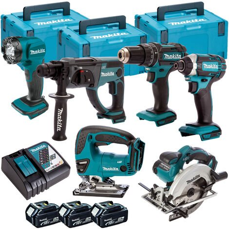 Makita 6 Piece Kit 18V Li-ion With 3x5Ah Batteries Charger T4TKIT-98:18V