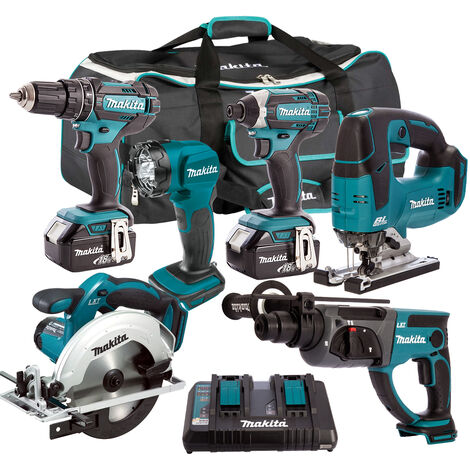 Makita 6 Piece Tool Kit 18V LXT 2 x 5.0Ah Batteries & Twin Port Charger T4TKIT-6567