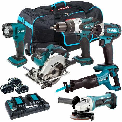 Makita 6 Piece Tool Kit 18V LXT 3 x 5.0Ah Batteries & Twin Port Charger T4TKIT-3424:18V