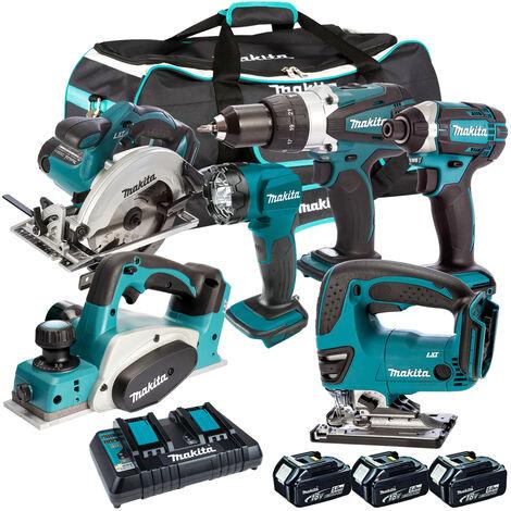 Makita 6 Piece Tool Kit 18V LXT 3 x 5.0Ah Batteries & Twin Port Charger T4TKIT-3514:18V