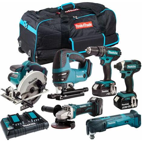 Makita 6 Piece Tool Kit 18V LXT 3 x 5.0Ah Batteries & Twin Port Charger T4TKIT-3552:18V