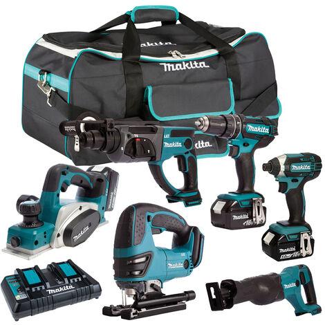 Makita 6 Piece Tool Kit 18V LXT 3 x 5.0Ah Batteries & Twin Port Charger T4TKIT-3796:18V