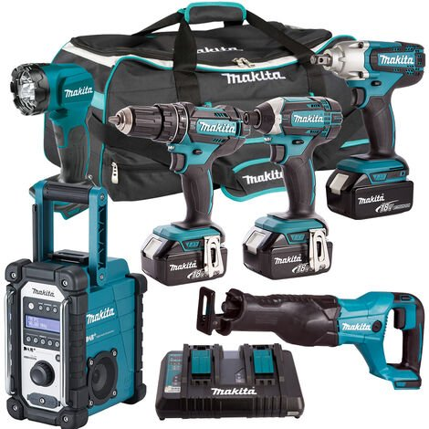 Makita 6 Piece Tool Kit 18V LXT 3 x 5.0Ah Batteries & Twin Port Charger T4TKIT-3803:18V