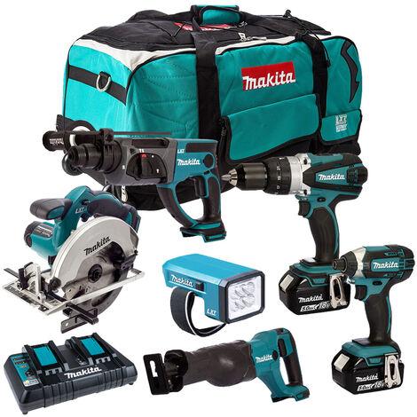 Makita 6 Piece Tool Kit 18V LXT 3 x 5.0Ah Batteries & Twin Port Charger T4TKIT-3819:18V