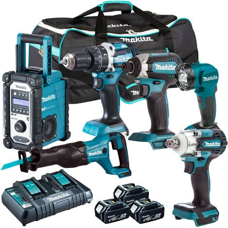 Makita 6 Piece Tool Kit 18V LXT 3 x 5.0Ah Batteries & Twin Port Charger T4TKIT-3862:18V