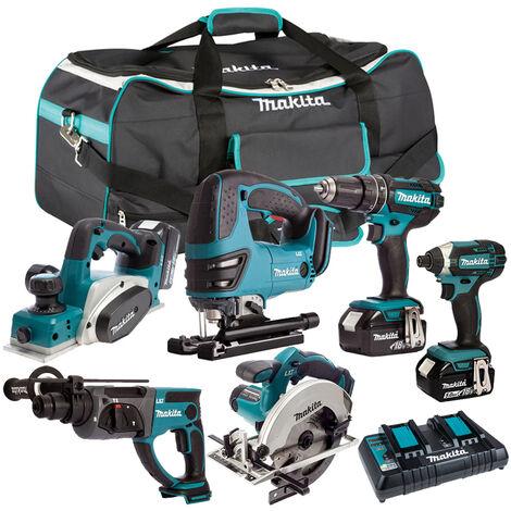 Makita 6 Piece Tool Kit 18V LXT 3 x 5.0Ah Batteries & Twin Port Charger T4TKIT-4021:18V