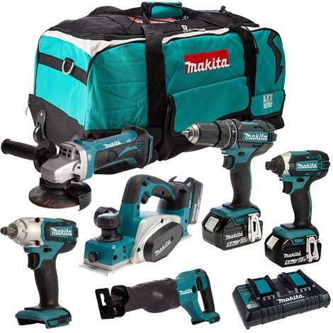 Makita 6 Piece Tool Kit 18V LXT 3 x 5.0Ah Batteries & Twin Port Charger T4TKIT-4089:18V