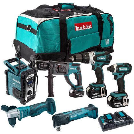 Makita 6 Piece Tool Kit 18V LXT 3 x 5.0Ah Batteries & Twin Port Charger T4TKIT-4262:18V