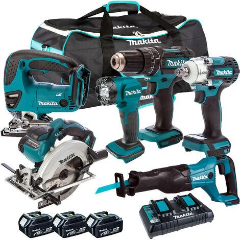 Makita 6 Piece Tool Kit 18V LXT 3 x 5.0Ah Batteries & Twin Port Charger T4TKIT-4291:18V