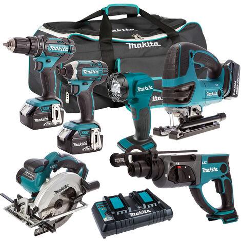 Makita 6 Piece Tool Kit 18V LXT 3 x 5.0Ah Batteries & Twin Port Charger T4TKIT-6591