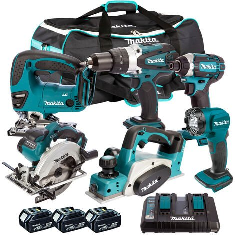 Makita 6 Piece Tool Kit 18V LXT 3 x 5.0Ah Batteries & Twin Port Charger T4TKIT-7341
